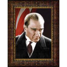 Çerçeveli Kızgın Bakan Atatürk Resmi Bayraklı Renkli Atatürk Portresi Atacrap03d