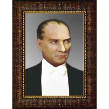 Çerçeveli Papyonlu Atatürk Resmi Renkli Atatürk Portresi Atacrap04d