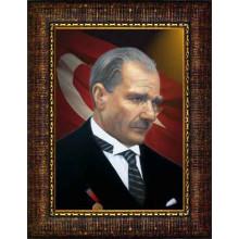 Çerçeveli Kravatlı Atatürk Resmi Yandan Bayraklı Renkli Atatürk Profil Portresi Atacrap05d