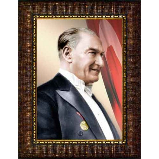Çerçeveli Papyonlu Atatürk Resmi Yandan Bayraklı Renkli Atatürk Profil Portresi Atacrap06d