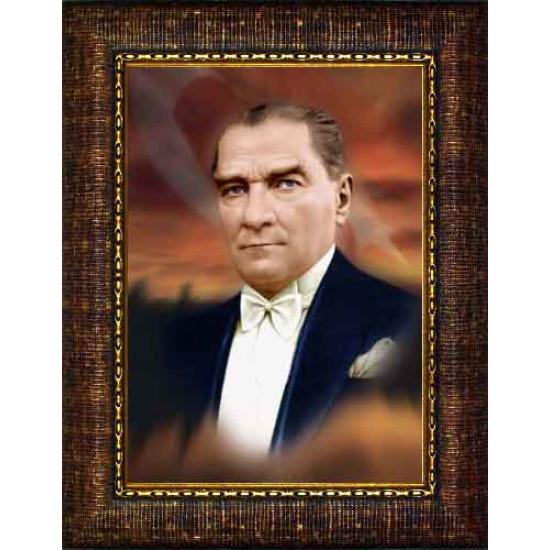 Çerçeveli Atatürk Resmi Bayraklı Renkli Atatürk Portresi Atacrap08d