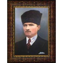 Çerçeveli Sivil Kalpaklı Atatürk Resmi Renkli Atatürk Portresi Atacrap09d