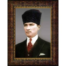 Çerçeveli Sivil Kalpaklı Atatürk Resmi Renkli Atatürk Portresi Atacrap10d