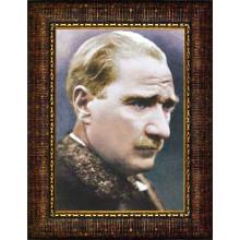 Çerçeveli Atatürk Resmi Yandan Renkli Atatürk Profil Portresi Atacrap11d