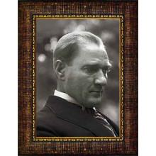 Çerçeveli Atatürk Resmi Yandan Siyah-Beyaz Atatürk Profil Portresi Atacrap12d