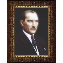 Çerçeveli Atatürk Resmi Renkli Atatürk Portresi Atacrap13d