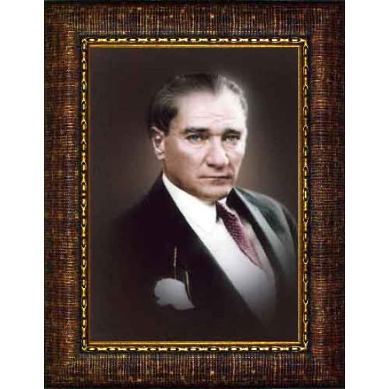 Çerçeveli Atatürk Resmi Renkli Atatürk Portresi Atacrap14d