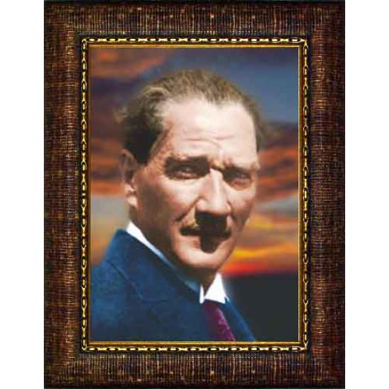 Çerçeveli Dağınık Saçlı Atatürk Resmi Renkli Atatürk Portresi Atacrap15d