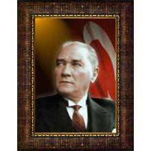 Çerçeveli Atatürk Resmi Bayraklı Renkli Atatürk Portresi Atacrap23d