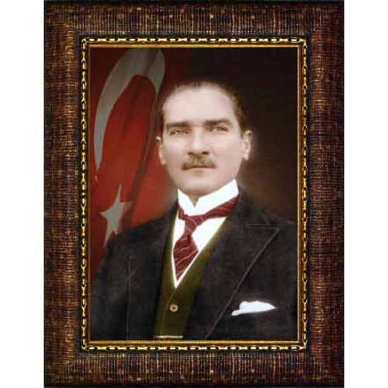Çerçeveli Atatürk Resmi Bayraklı Renkli Atatürk Portresi Atacrap25d