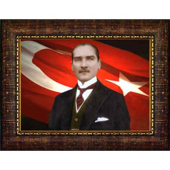 Çerçeveli Atatürk Resmi Bayraklı Renkli Atatürk Portresi Atacrap26y
