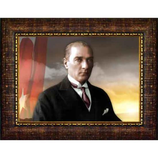 Çerçeveli Atatürk Resmi Bayraklı Renkli Atatürk Portresi Atacrap28y