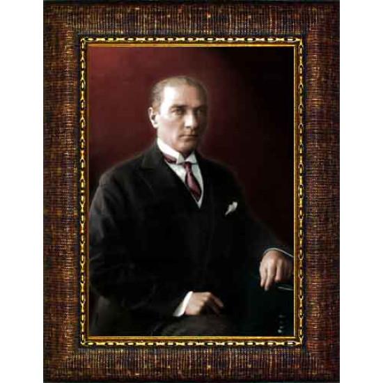 Çerçeveli Atatürk Resmi Renkli Atatürk Portresi Atacrap29d