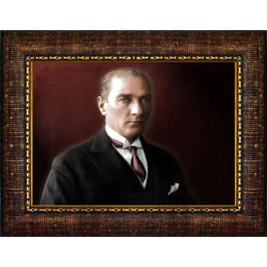 Çerçeveli Atatürk Resmi Renkli Atatürk Portresi Atacrap30y