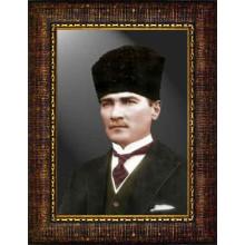 Çerçeveli Sivil Kalpaklı Atatürk Resmi Renkli Atatürk Portresi Atacrap31d