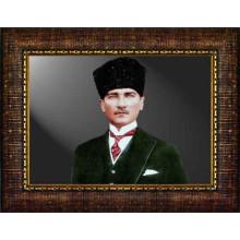 Çerçeveli Sivil Kalpaklı Atatürk Resmi Renkli Atatürk Portresi Atacrap32y