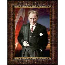 Çerçeveli Atatürk Resmi Bayraklı Renkli Atatürk Portresi Atacrap37d