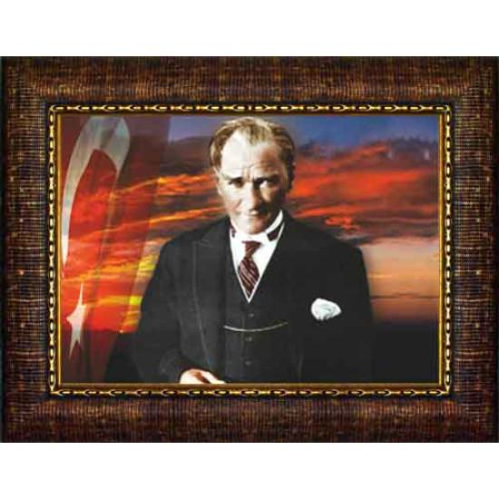 Çerçeveli Atatürk Resmi Bayraklı Renkli Atatürk Portresi Atacrap38y
