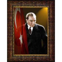 Çerçeveli Atatürk Resmi Bayraklı Renkli Atatürk Portresi Atacrap41d