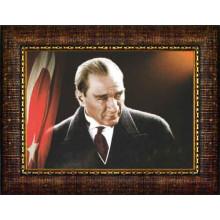 Çerçeveli Atatürk Resmi Bayraklı Renkli Atatürk Portresi Atacrap42y