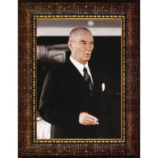 Çerçeveli Atatürk Resmi Renkli Atatürk Portresi Atacrap46d