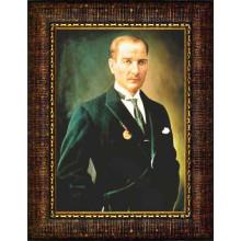 Çerçeveli Atatürk Resmi Renkli Atatürk Portresi Atacrap47d