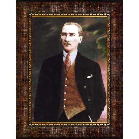 Çerçeveli Atatürk Resmi Renkli Atatürk Portresi Atacrap48d