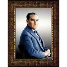 Çerçeveli Atatürk Resmi Renkli Atatürk Portresi Atacrap51d