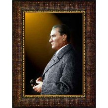 Çerçeveli Dürbünlü Atatürk Resmi Yandan Renkli Atatürk Profil Portresi Atacrap52d