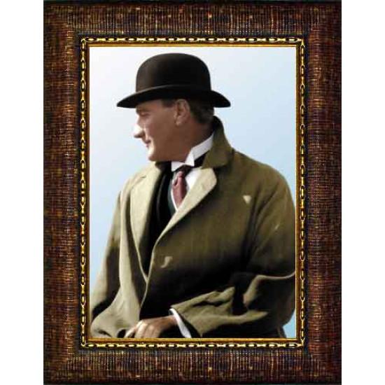 Çerçeveli Melon Şapkalı Atatürk Resmi Yandan Renkli Atatürk Profil Portresi Atacrap53d