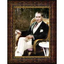 Çerçeveli Sandalyede Otururken Kahve İçen Atatürk Resmi Renkli Atatürk Portresi Atacrap54d