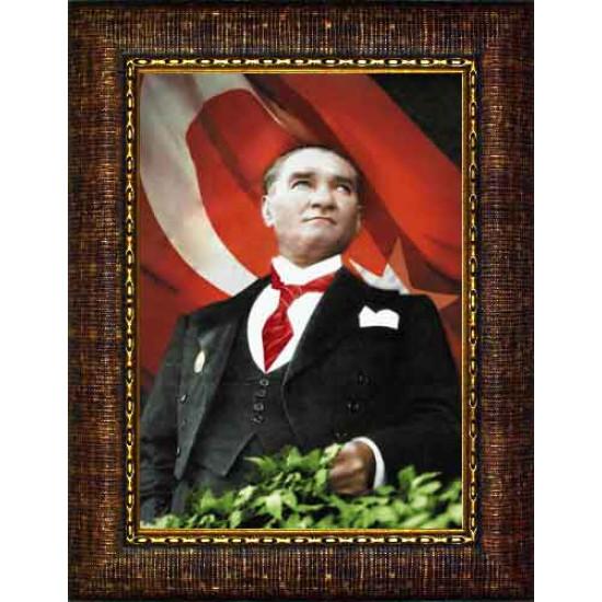 Çerçeveli Göğe Bakan Kravatlı Atatürk Resmi Bayraklı Renkli Atatürk Portresi Atacrap55d