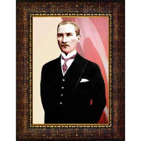 Çerçeveli Atatürk Resmi Bayraklı Renkli Atatürk Portresi Atacrap56d