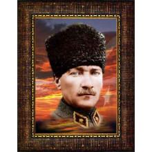 Çerçeveli Üniformalı Asker Kalpaklı Atatürk Resmi Bayraklı Renkli Atatürk Portresi Atacrap61d