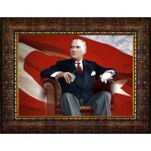 Çerçeveli Atatürk Resmi Bayraklı Renkli Atatürk Portresi Atacrap63y