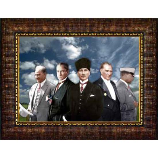 Çerçeveli Yanyana Beş Atatürk Resmi Renkli Atatürk Portresi Atacrap71y