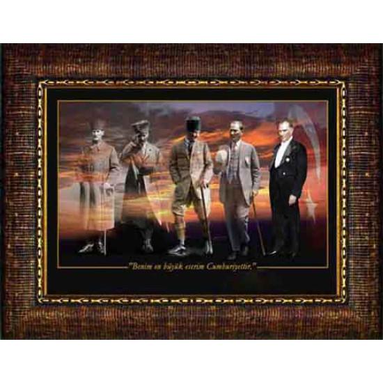 Çerçeveli Yanyana Ayakta Beş Atatürk Resmi Boydan Renkli Atatürk Portresi Atacrap72y