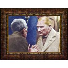 Çerçeveli Halkı Dinleyen Halkçı Atatürk Resmi Renkli Atatürk Portresi Atacrap75y