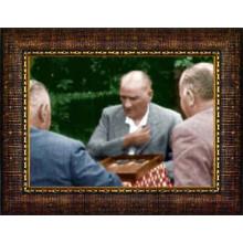 Çerçeveli Tavla Oynayan Atatürk Resmi Renkli Atatürk Portresi Atacrap76y