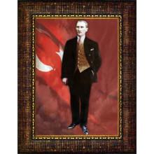 Çerçeveli Ayakta Atatürk Resmi Boydan Bayraklı Renkli Atatürk Portresi Atacrap81d