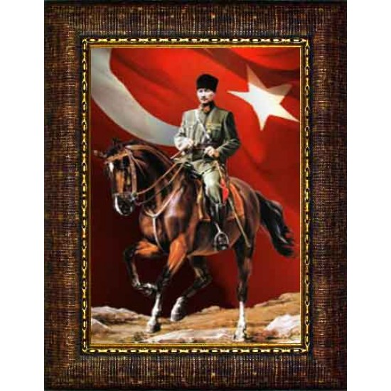 Çerçeveli At Üzerinde Atatürk Resmi Bayraklı Renkli Atatürk Portresi Atacrap86d