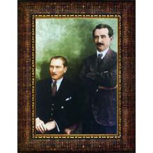 Çerçeveli Atatürk ve İsmet İnönü Resmi Renkli Atatürk Portresi Atacrap97d