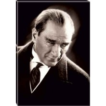 Kanvas Kızgın Bakan Atatürk Tablosu Siyah-Beyaz Atatürk Portresi Atatrap01d