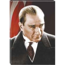 Kanvas Kızgın Bakan Atatürk Tablosu Bayraklı Renkli Atatürk Portresi Atatrap03d