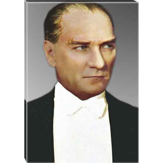 Kanvas Papyonlu Atatürk Tablosu Renkli Atatürk Portresi Atatrap04d