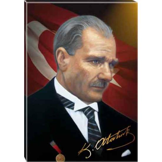 Kanvas Kravatlı Atatürk Tablosu Yandan Bayraklı Renkli Atatürk Profil Portresi Atatrap05d