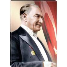 Kanvas Papyonlu Atatürk Tablosu Yandan Bayraklı Renkli Atatürk Profil Portresi Atatrap06d