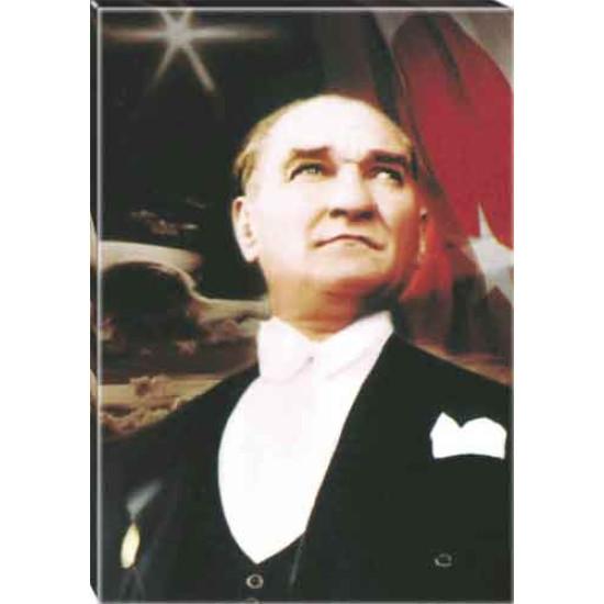 Kanvas Göğe Bakan Papyonlu Atatürk Tablosu Bayraklı Renkli Atatürk Portresi Atatrap07d