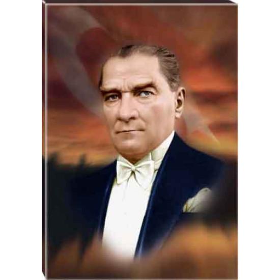 Kanvas Atatürk Tablosu Bayraklı Renkli Atatürk Portresi Atatrap08d