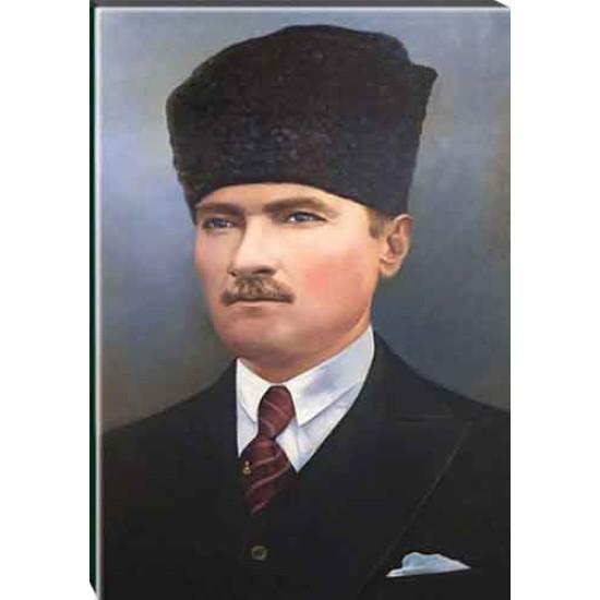 Kanvas Sivil Kalpaklı Atatürk Tablosu Renkli Atatürk Portresi Atatrap09d